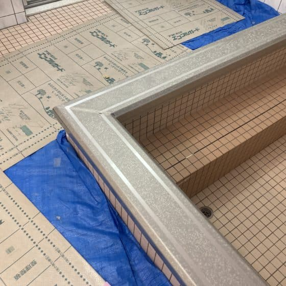 ステンレス製の浴槽笠木カバーを製作施行しました